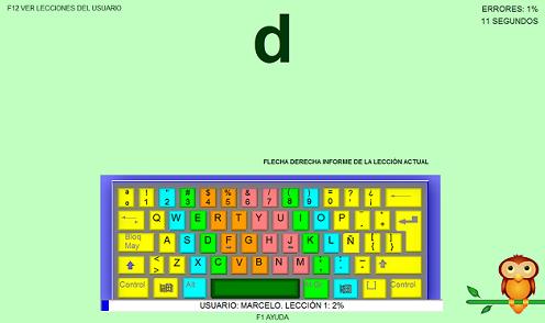 Ventana de Pequén LeeTodo mostrando un teclado QWERTY con el personaje animado, un buho, indica la ubicación de la letra D